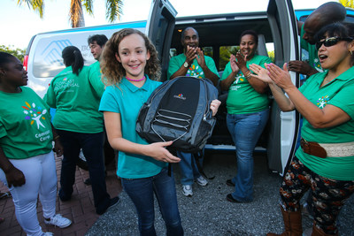 Boys & Girls Clubs of Palm Beach County youth receives a new backpack from Comcast during Back2School event with Boys & Girls Clubs of America.