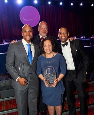 Wes Moore (Leo B. Marsh recipient & Key Note Speaker), Roger Arrieux (Achievers In Industry Steering Committee Chair), Valerie Rainford (Managing Director, JP Morgan Chase & Co. and Deloitte Corporate Community Award Recipient) & DeMarco Morgan (CBS New York News Correspondent and the night's Emcee)