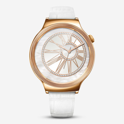 New Huawei Watch Jewel featuring white leather strap, with the rose gold-plated case encrusted with Swarovski crystals (PRNewsFoto/Huawei Consumer BG)