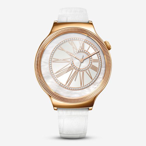 New Huawei Watch Jewel featuring white leather strap, with the rose gold-plated case encrusted with Swarovski ...