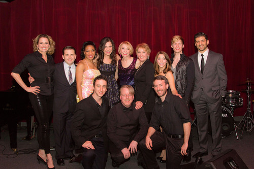 (Back row, left to right) Broadway Belts for PFF! cast members, Cady Huffman, Robert Creighton, Rashidra Scott, Lindsay Mendez, Julie Halston, Liz Callaway, Christina Bianco, Lucas Steele, and Tony Yazbeck. (Front row, left to right) Musician, Danny Weller; musical director, Christopher McGovern; and musician, Alex Wyatt. The Tony and Emmy award-winning cast performed at the Broadway Belts for PFF! fundraiser to benefit the Pulmonary Fibrosis Foundation at Birdland in New York City on February 24, 2014. Photo by Seth Walters.  (PRNewsFoto/The ...