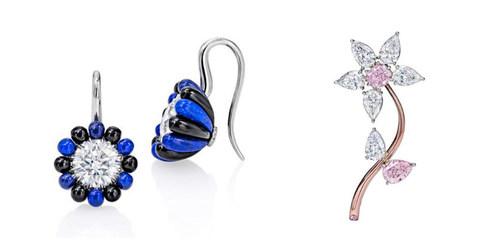 Midnight Earrings & Pink Diamond Flower Brooch (PRNewsFoto/Sotheby's Diamonds) (PRNewsFoto/Sotheby's Diamonds)