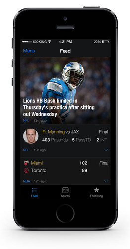 Feed on theScore for iPhone. (PRNewsFoto/theScore, Inc.) (PRNewsFoto/THESCORE, INC.)