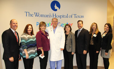 Jeff Sliwinski, HCA Gulf Coast Division CFO; Holley Tyler, TWHOT CNO; Linda Russell, TWHOT CEO; Terry Simon, M.D., Chief Medical Officer; Maura Walsh, HCA Gulf Coast Division President; Eric Evans, TWHOT COO; Sylvia Godinich, TWHOT Asst. CNO; Hannah Gelbs, TWHOT Asst. Administrator celebrate the opening of The Woman's Hospital of Texas.