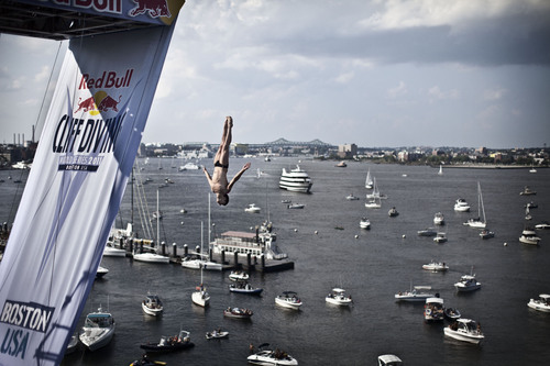 World-Class Divers Plunge Off of ICA at Red Bull Cliff Diving World Series' Sixth Stop in Boston.  (PRNewsFoto/Red Bull North America)