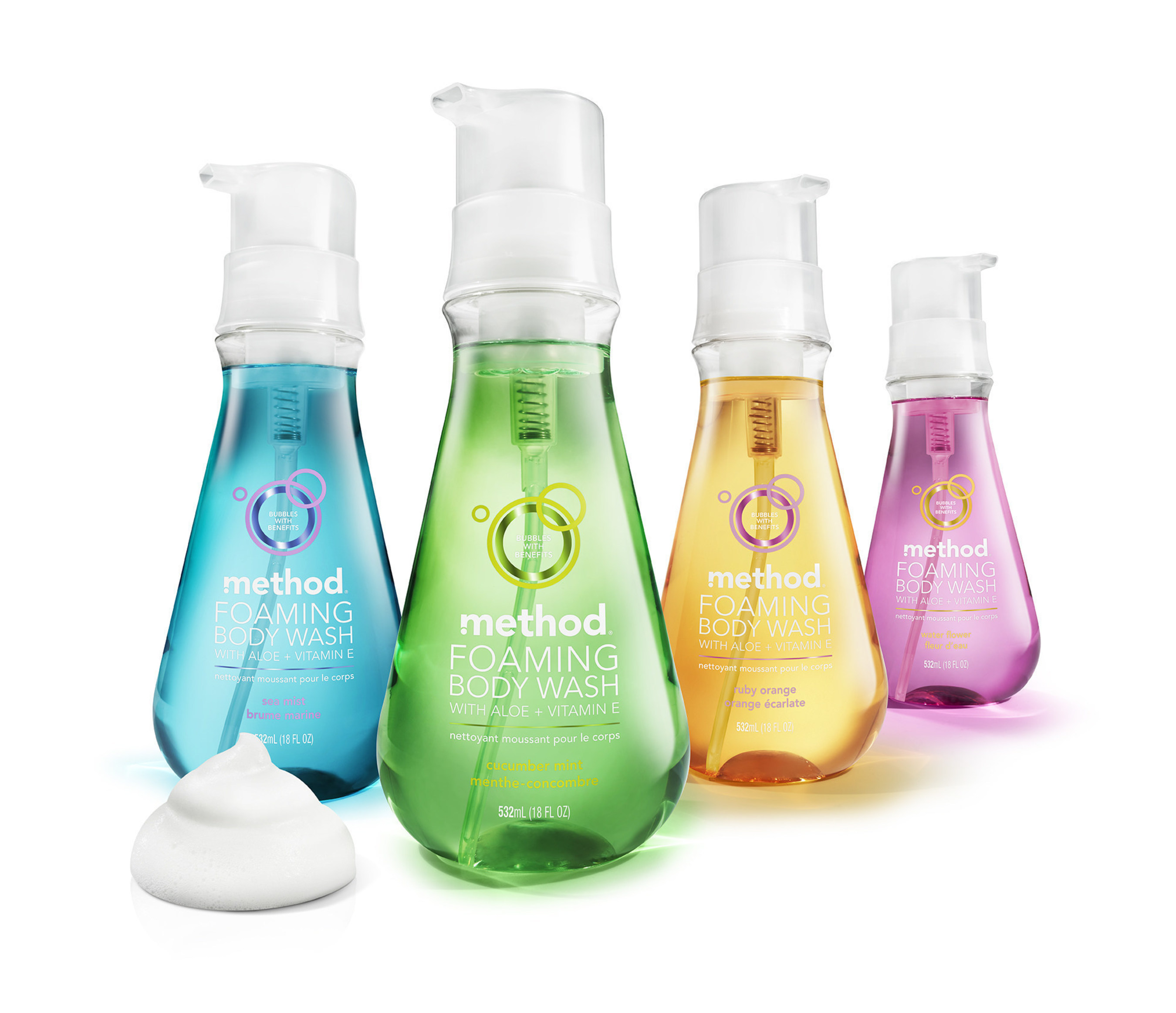 method's new foaming body wash delivers instant handfuls of luxurious foam in four fresh scents: sea mist, cucumber mint, ruby orange and water flower