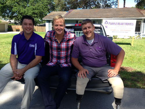 Purple Heart Homes Co-founders John Gallina (right) and Dale Beatty (l) with Art Edmond Designing Spaces host.  (PRNewsFoto/Purple Heart Homes)