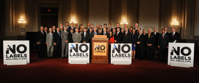 No Labels brought together more than 40 Republicans and Democrats Thursday with a message to congressional leadership and President Obama: Stop fighting and start fixing! The group, nearly evenly divided between members of both parties, stood in solidarity to urge all leaders to find a way to work together to end this destructive and perilous fiscal crisis. (PRNewsFoto/No Labels) (PRNewsFoto/NO LABELS)