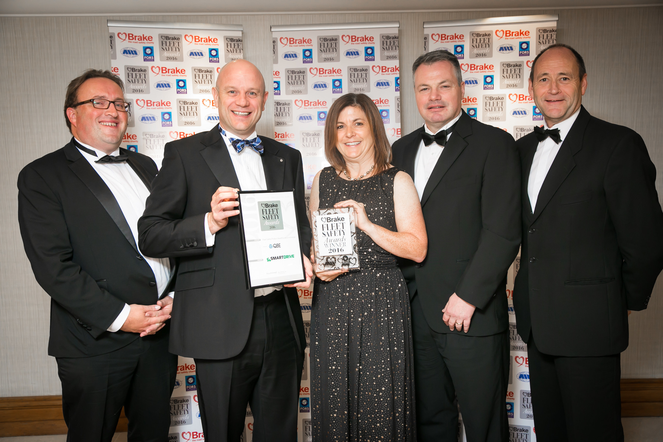 SmartDrive representatives (from left) Mark Hampson, Carl McFarlane, Penny Randall, Aidan Rowsome and Phil Morrell receive the 2016 Brake Award for the Best Fleet Safety Product - In-Vehicle, recognising SmartDrive's Video-Based Driver Safety Programme.