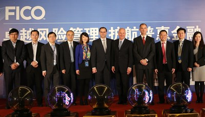 FICO executives and the CEOs of 11 of China's leading alternative lending companies at a signing ceremony in Beijing. The micro-credit financiers have signed to the new FICO Alternative Lending Platform as part of industry-wide efforts to upgrade risk management across China's booming P2P (peer-to-peer) and micro-loan sector.