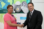 Lighting Science Group CEO presents 2 millionth LED bulb to EPA Administrator during Florida visit.(PRNewsFoto/Lighting Science Group, Alex Menendez)