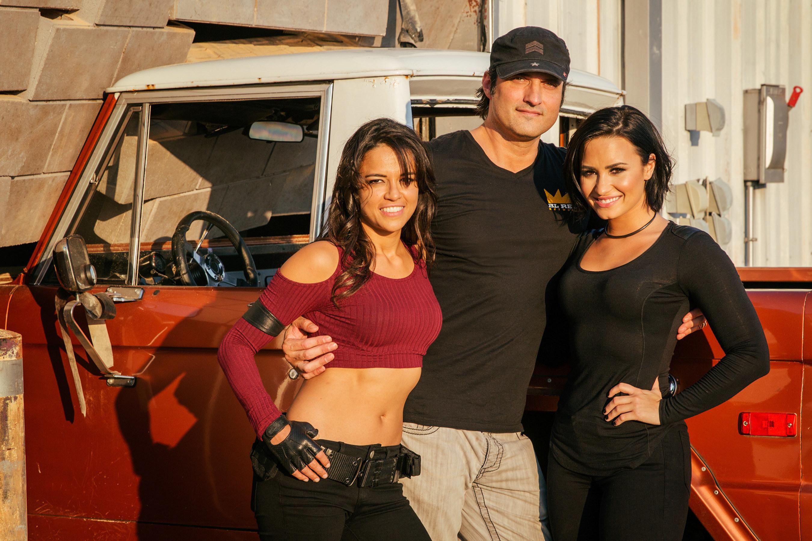 L To R Michelle Rodriguez Robert Demi Lovato