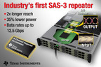 The DS125BR800A is an 8-chanel multi-protocol repeater that is the industry's first signal conditioner capable of driving the serial-attached SCSI (SAS-3) protocol. In addition to supporting the faster data rates of the newest SCSI standard, the DS125BR800A is compatible with existing 3-Gbps and 6-Gbps SAS link rates used in data center applications. It also supports the PCI Express (PCIe) Gen-1, Gen-2, Gen-3 and SATA 1.5-Gbps, 3-Gbps and 6-Gbps interface standards. This flexibility allows equipment manufacturers to employ one device for multiple protocols with data rates up to 12.5 Gbps. (PRNewsFoto/Texas Instruments) (PRNewsFoto/TEXAS INSTRUMENTS)