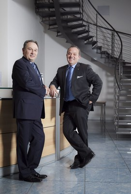 From left Claudio Gabellini and Enrico Giacomelli, founders and owners of grupoo Namirial. Gabellini, 58 years old , was born in San Giovanni in Marignano while Enrico Giacomelli, 51 years old, was born and lives in Senigallia. Namirial now vith this acquisition, wants to conquer the European market on the Digital Transaction Management. (PRNewsFoto/Namirial Spa)