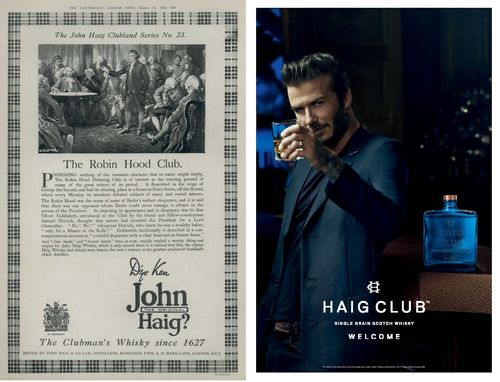 "Original 1920s Haig ""Clubman series"" advert and the HAIG CLUB advert today (PRNewsFoto/HAIG CLUB and Diageo)"