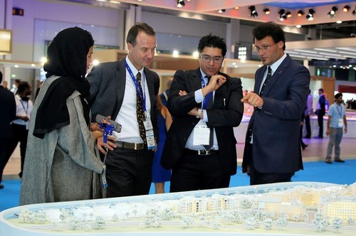 MAG Property Development CEO Talal M Al Gaddah presenting the flagship MAG of Life project at Cityscape 2016 ...