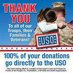 Customers may support the USO by donating their spare change in the checkstand canisters featuring this message at Food 4 Less/Foods Co stores.