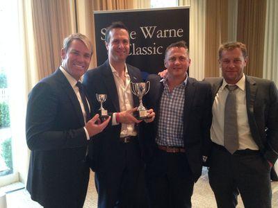Warne's Warriors – Captain Shane Warne, Michael Vaughan, Darren Gough and Ian Ward celebrate their first place finish at the Shane Warne Golf Classic. (PRNewsFoto/888poker.com)