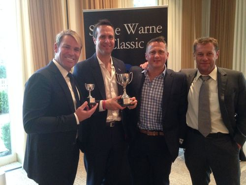Warne's Warriors – Captain Shane Warne, Michael Vaughan, Darren Gough and Ian Ward celebrate their first place finish at the Shane Warne Golf Classic. (PRNewsFoto/888poker.com)