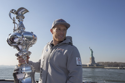 ORACLE TEAM USA skipper Jimmy Spithill and the America's Cup trophy look ahead to the return of America's Cup racing to New York with the Louis Vuitton America's Cup World Series on May 7-8, 2016. (Photo: ACEA 2015 /Rob Tringali)