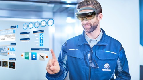 HoloLens will support thyssenkrupp elevator technicians prior to and on the job site, significantly reducing service intervention times. (PRNewsFoto/thyssenkrupp Elevator AG)