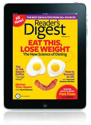 Reader's Digest Feb. Issue on Sale Jan. 18, Marks Return to Curation, iPad App Launch & Reader's Digest Version Website rd.com.  (PRNewsFoto/Reader's Digest)