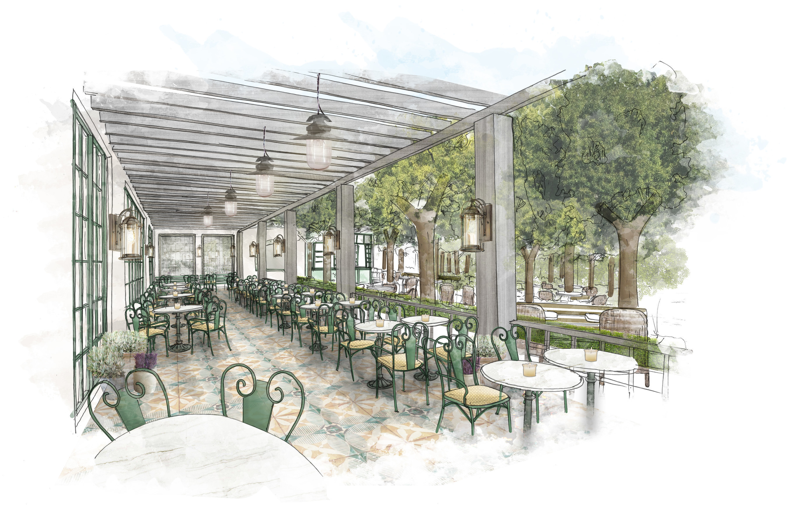 Restaurant Terrace: MGM Resorts International and Sydell Group announced a partnership to reimagine Monte Carlo Resort on the famed Las Vegas Strip with two distinct hotel experiences - Park MGM and The NoMad Las Vegas. Both hotels will feature a collection of new dining experiences including an indoor-outdoor concept located off of Park MGM's lobby (seen here).