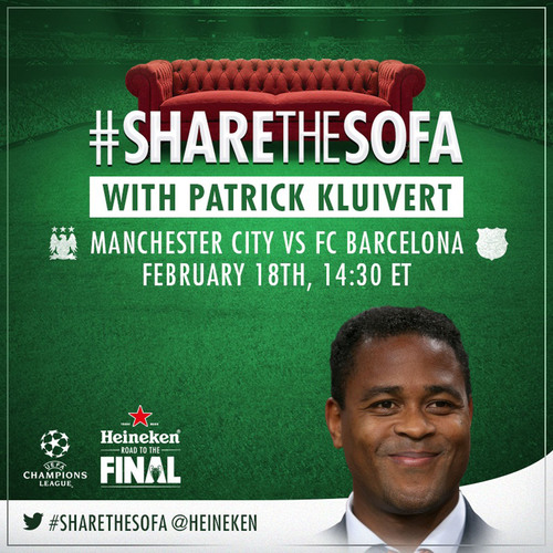UCL fans can #ShareTheSofa with legendary soccer players by tweeting @Heineken_US during select UEFA Champions ...