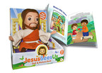 Jesus Sees Us doll and book teach children about Christian faith.