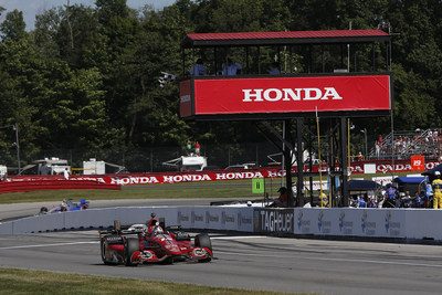 Graham Rahal drove his Honda to victory Sunday in the Honda Indy 200 at the Mid-Ohio Sports Car Course.