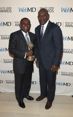 WebMD Health Hero Scientist Award Winner Dr. Bennet I. Omalu and Harry Carson Attend the WebMD Health Hero Awards Gala at TimesCenter on November 5, 2015