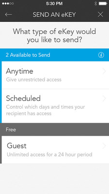 Kevo app and firmware updates allow users to send free and unlimited Guest eKeys to recipients, and with a Scheduled eKey, set day and time constraints for regular house guests.