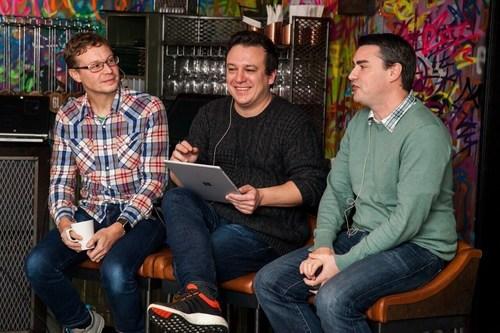Pictured left to right: T3's online editor, Dan Grabham, T3's editor, Rob Carney, and TechRadar's editor-in-chief, Patrick Goss (PRNewsFoto/Gorkana)