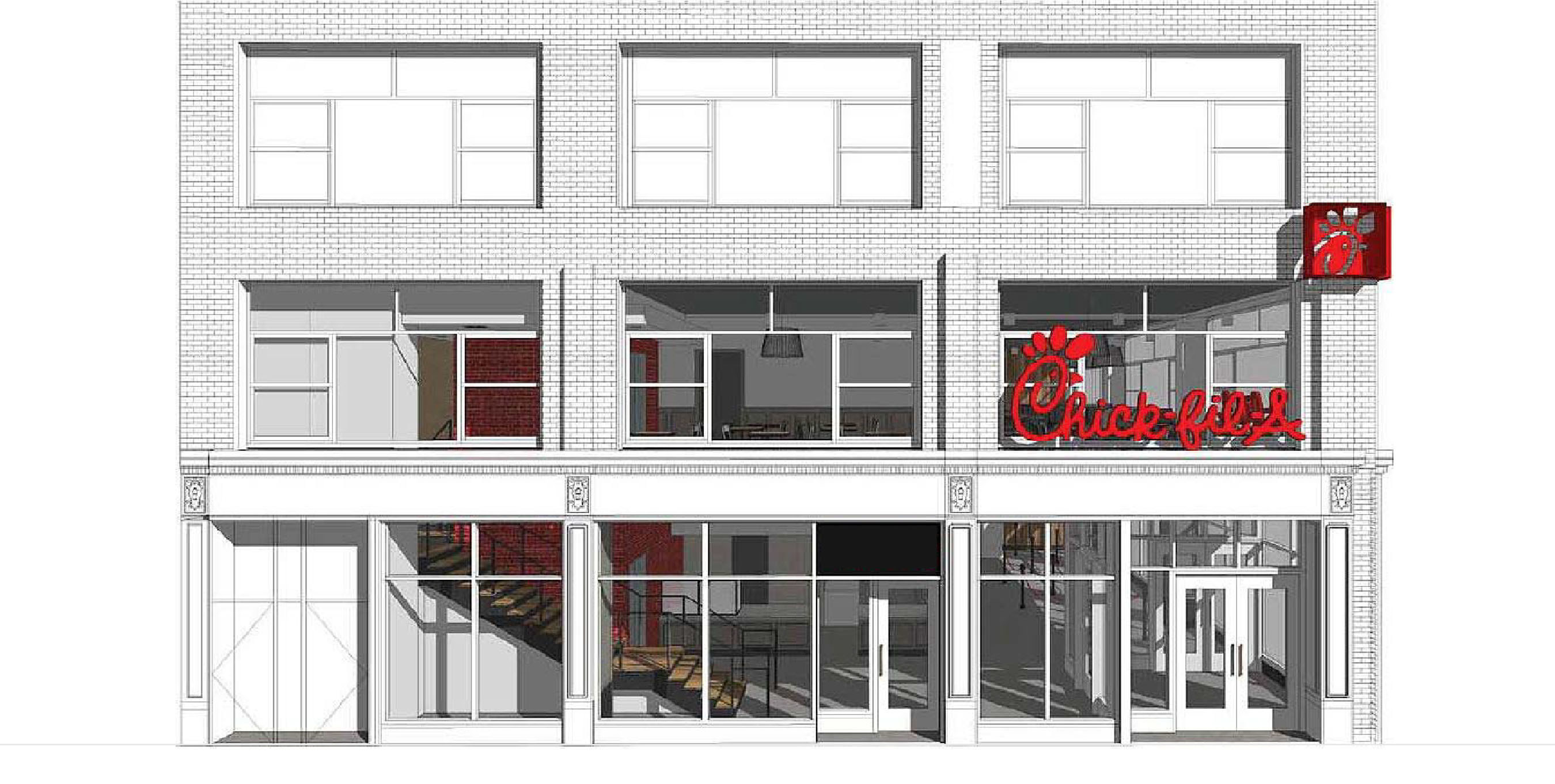 Rendering of Chick-fil-A at 37th and 6th, the first freestanding Chick-fil-A restaurant in New York City, which is set to open in the Garment District on October 3, 2015.
