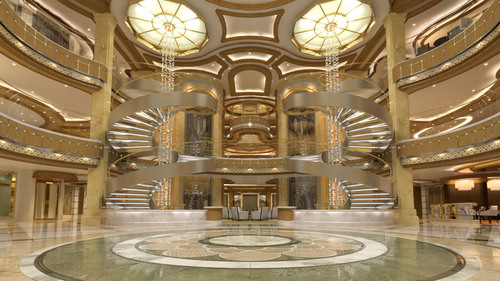 Royal Princess' atrium will feature two breathtaking marble spiral staircases illuminated by back-lit glass domes with lines of light that stretch dramatically down to the sparkling water features below.  (PRNewsFoto/Princess Cruises)