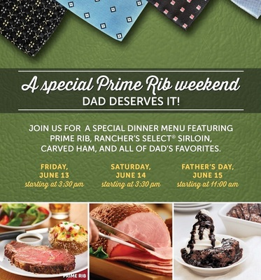 Treat Dad to a special meal at Ryan's, HomeTown Buffet or Old Country Buffet all Father's Day weekend, June 13 through 15. (PRNewsFoto/Ovation Brands)
