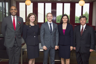 The first graduates of the dual degree International Energy Lawyers Program gather after commencement with their deans, University of Houston Law Center Dean Leonard M. Baynes, left, Andrea James, Barrett Schitka, Julia Gill, and University of Calgary Faculty of Law Dean Ian Holloway.