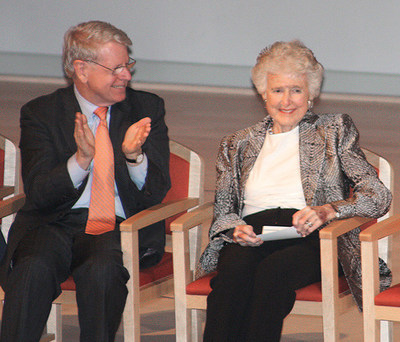 Edith O'Donnell, with UT Dallas President David E. Daniel, has been a longtime patroness of the arts and education. (PRNewsFoto/University of Texas at Dallas)