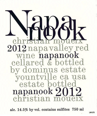 Dominus Estate announced that with the release of Napanook 2012, the brand will don a new label design. Napanook 2012 is a clear expression of an exceptional vintage. The brand's new label, a bold black and white design, reflects the wine's maturity, definition and class.  With this 17th vintage of Napanook, the new label conveys a sense of rigor, and much like the wine, aims to be playfully earnest in its design.