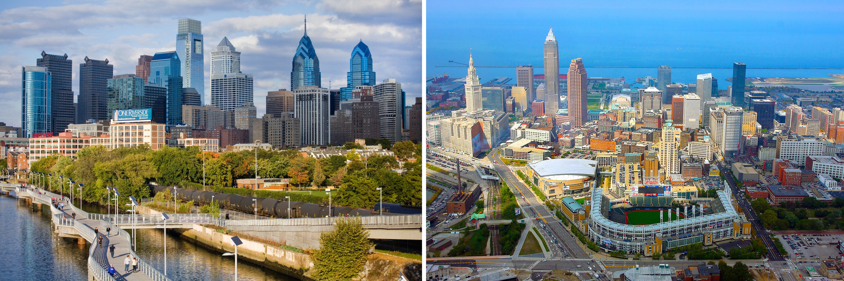 History repeats itself eight decades after Philadelphia (left) and Cleveland (right) both hosted national political conventions in the summer of 1936. This year, the Democratic National Convention will be held in the City of Brotherly Love July 25-28 while Cleveland will host the Republican National Convention July 18-21.  Credits: Photos by M. Edlow for VISIT PHILADELPHIA (left) and William Reiter for the City of Cleveland (right).