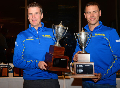David Higgins & Craig Drew claimed their third Rally America Championship in a row for Subaru Rally Team USA. The top three teams were all WRX STI's prepared by Vermont SportsCar. Subaru claimed the 2013 Rally America Manufacturer's Title. Higgins & Drew Win Their Third Rally America Title for Subaru Rally Team USA. (PRNewsFoto/Subaru of America, Inc.)