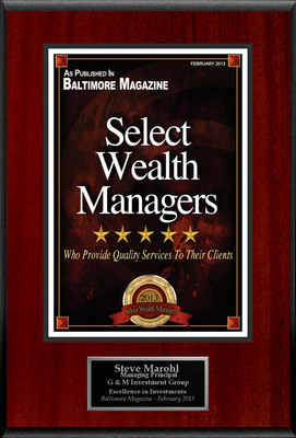 "Steve Marohl Selected For ""Select Wealth Managers"".  (PRNewsFoto/American Registry)"