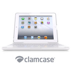 ClamCase all-in-one keyboard, case and stand for the iPad - Now available in white for iPad 2.  (PRNewsFoto/ClamCase)