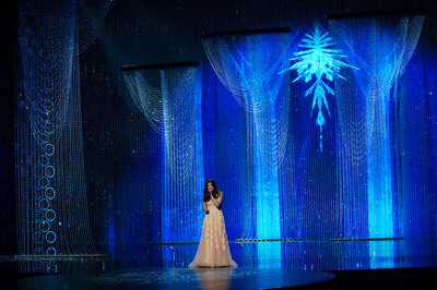"""Swarovski crystals added brilliance to the stage during the performance of Oscar-winning song """"Let It Go"""" from the animated feature film Frozen.  (PRNewsFoto/Swarovski)"""