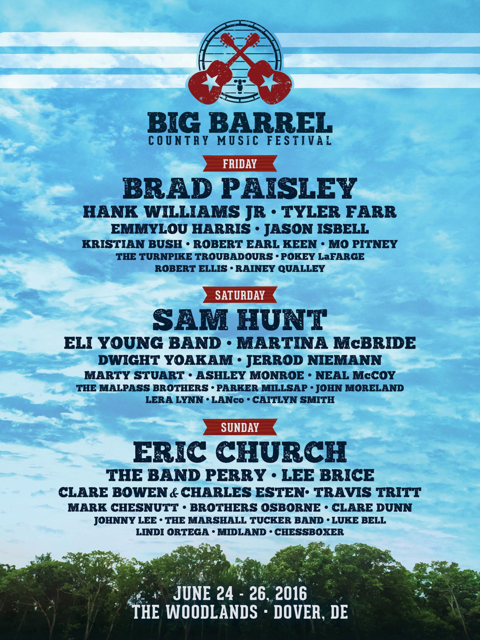 Eric Church, Brad Paisley, and Sam Hunt to Headline Big Barrel Country Music Festival