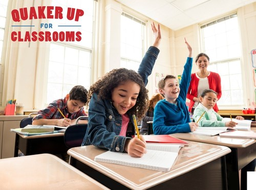 Quaker is teaming up with AdoptAClassroom.org to donate up to $250,000 to help teachers give their students the tools that can help them succeed. Families and community members nationwide can help support teachers and classrooms in need by purchasing specially-marked Quaker products and entering the unique package codes online at www.QuakerUpForClassrooms.com. (PRNewsFoto/The Quaker Oats Company)