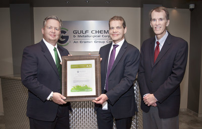 GDF SUEZ Energy Resources Continues Support of GCMC's Commitment to Environmental Responsibility.  From left to right are JD Burrows with GDF SUEZ Energy Resources, Eric Caridroit with Gulf Chemical & Metallurgical Corporation, and Bruce Craig with Ascentergy Corporation.