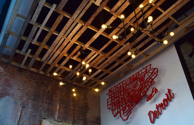 Lear Innovation Center entrance ceiling is made from recycled wood pallets