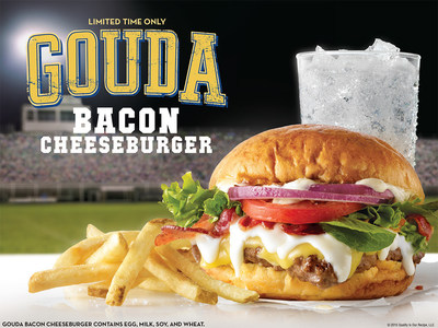 Wendy's new Gouda Bacon Cheeseburger takes the field with 100% pure, fresh never frozen beef, served hot off the grill and topped with a creamy Garlic Aioli, smoked Gouda Cheese and Swiss Gruyere Cheese Sauce. On top are three strips of freshly cooked, Applewood Smoked Bacon, red onions, tomato and fresh spring mix - all served on a Brioche Bun. Wendy's new Bacon Fondue Fries are no benchwarmer either with Natural-Cut Fries smothered in warm Swiss Gruyere Cheese Sauce and topped with Applewood Smoked Bacon.