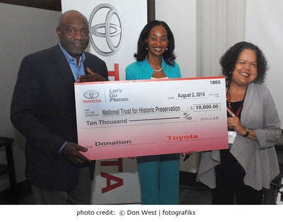 Toyota donated $10,000 to the National Trust for Historic Preservation at the 2014 National Association of Black Journalists Convention & Career Fair in Boston to assist in their mission to protect vital African American historic sites in the United States.